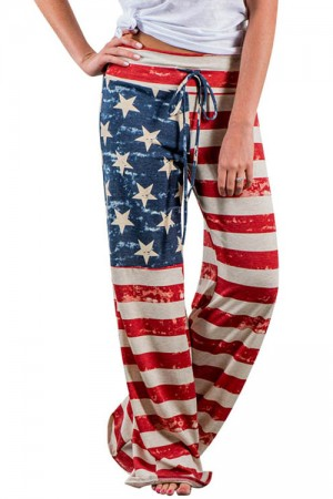 Leisure American Flag Straight Palazzo Patriotic Pants