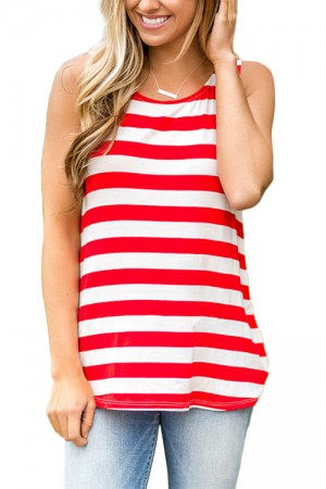 Patriotic Holiday Red And White Striped Sleeveless Shirt