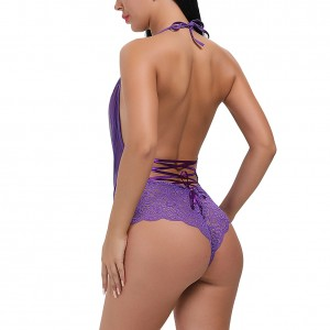 Charming Purple Mesh Halter Teddy With Scallop Lace Backless
