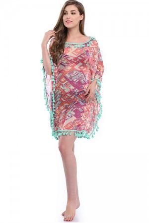 Boho Printed Dropped Shoulders Tassel Beach Cover Up