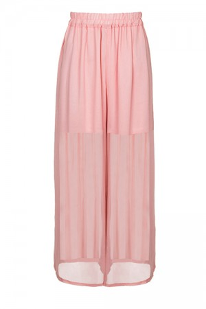 Pleasant Pink Mesh Layer Trousers Wide-Leg