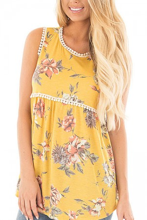 Floral Print Yellow Babydoll Tank Top With Lace Trim