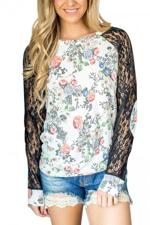 Comfy White Full Back Flower Print Pattern Blouse