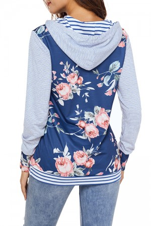 Comfortable High Neck Sweater Flower Print Autumn Stripe