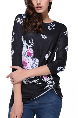 Captivating Flower Pattern Ruching Blouse Long Sleeves