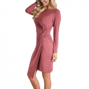 Graceful Red Side Twist Waist Mini Dress Long Sleeve