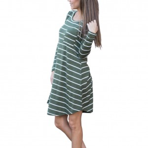 Dressy Patch Pocket Stripe Mini Dress Asymmetrical Hem