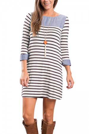 Conservative Black Patchwork Stripe Mini Dress Long Sleeve