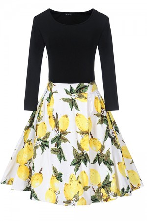 Unique Splicing Tulip Print Cocktail Dress Hidden Side Zipper