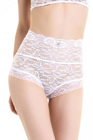 Translucent High Waist White Floral Lace Panties