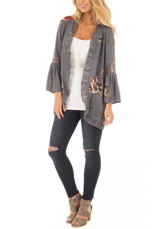 Graceful Grey Open Front Flower Lace Patchwork Jacket