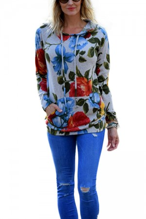 Crewneck Flower Pattern Pocket Side Hoodie Sweatshirt