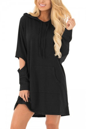 Leisure Black Cut Out Sleeve Side Pocket Hooded Dress