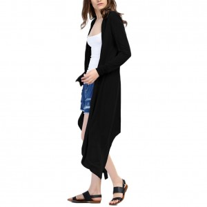 Premium Autumn Black Loose Fit Knitted Long Cardigan Cover Up
