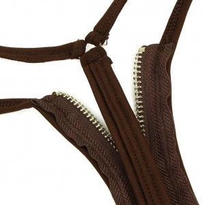 Sultry Deep Brown Zipper Front G-String Low-Rise Fit