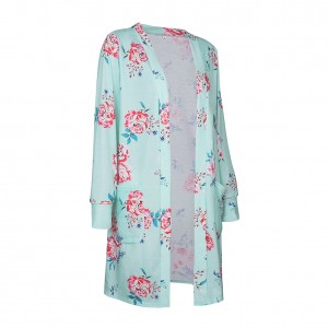 Formfitting Green Flower Pattern Long Coat Full Sleeves