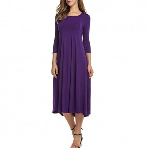 Witching Solid Purple Ruffled Trim Evening Dress Midi Length