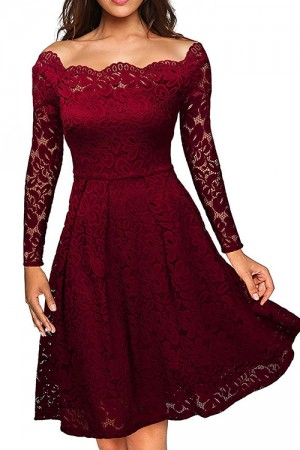 Charming Wine Red Long Sleeves Off Shoulder Neckline Dress