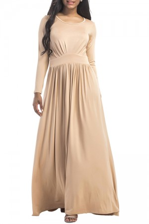 Distinctive Plus Khaki Round Neckline Maxi Dress High Waist