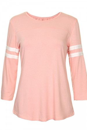 Casual Pink Long Sleeve T-Shirt Stripe Pattern Details