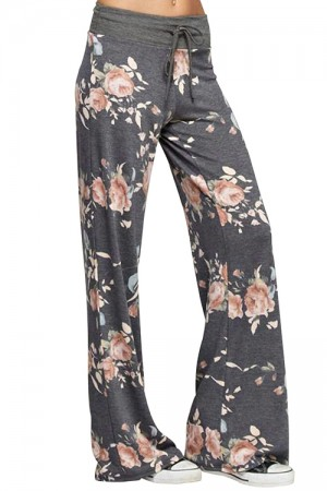 Flower Print Wide Leg Trousers With Drawstring Overlength