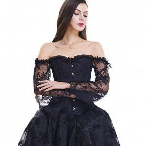 Drawstring Back Lace Sleeves Overbust Corset 12 Plastic Bones