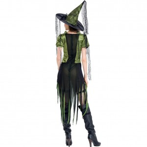 Green And Black Halloween Adult Goth Maiden Witch Costume