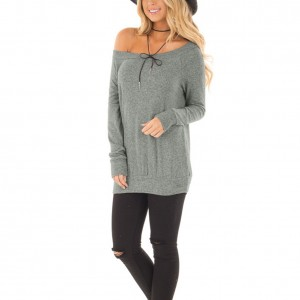 Cozy Solid Grey Elastic Waistband Long Cuffed Sleeves T-Shirt