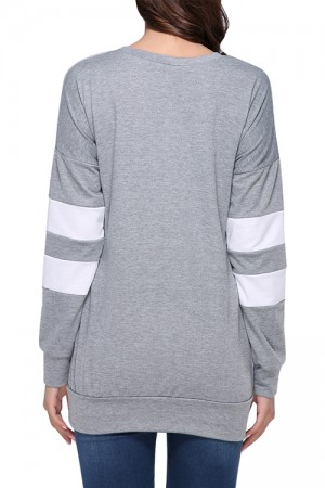 Characteristic Grey Round Neckline Winter T-Shirt Full Sleeves