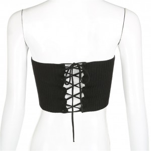 Faddish Black Knitted Corset Waistband Lace-Up Fastening