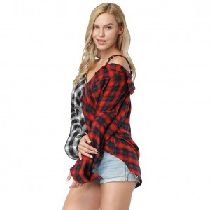 Red Off Shoulder Splicing Plaid Blouse Bottons Front Long Sleeve