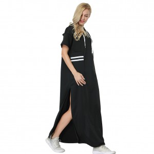 Stylish Fall Black Short Sleeve Hoodie Maxi Dress Loose Fitting