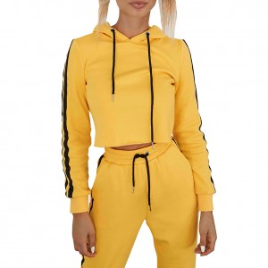 Stylish Yellow Side Stripe Sweat Suit Crop Top Drawstring