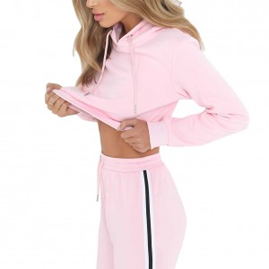Athletic Pink Hood Top Sweat Suit Long Sleeve Elastic Waist