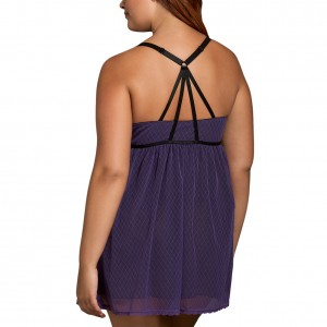 Lightweight Purple Deep V Neck Mesh Body Ruching Babydoll