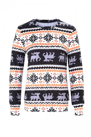 Christmas Element Reindeer Pattern Sweatshirt Full Sleeves