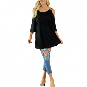 Adorable Round Neck Cold Shoulder Black Top Comfort Fit Comfort