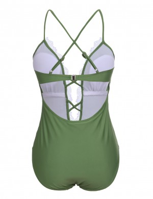 Flirting Green Lace Crisscross Swimsuit Open Back Womens Apparel