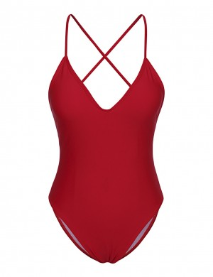 Extreme Red Crisscross Back Swimsuit Ruched Hip Chic Fashion