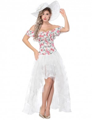 Amazing White Flower Print Bustier And Lace Skirt Off Shoulder