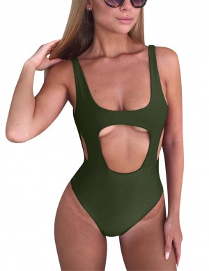 Gorgeous Army Green Allover Cut Tanks Monokini Leakage Hips