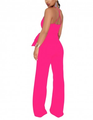Trendy Rose Red Halter Thin Strap Bodysuit Bowknot Palazzo Pants