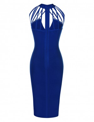 Formal Blue Sleeveless Bodycon Dress High Neck Versatile Item