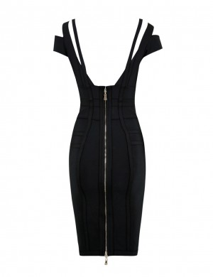 Eye-Catching Sweetheart Neck Black Bodycon Dress Cold Shoulder
