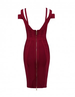 Well-Suited Wine Red Cold Shoulder Bandage Dress Back Zipper