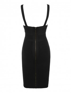 Fascinating Black Buckle Strap Bodycon Dress Cut Out Front