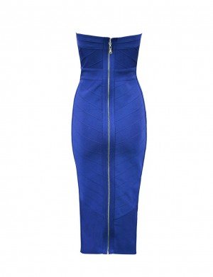 Charming Bandeau Neck Blue Party Dress Bodycon Fit