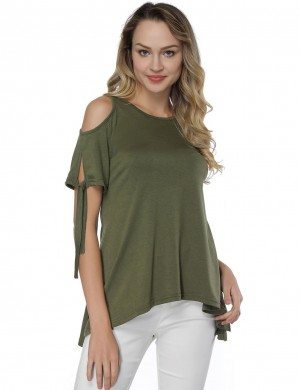 Glossy Round Neck T-Shirt Green High-Low Hem Versatile Item