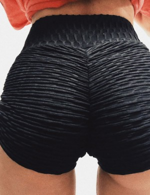 Black Butt Lifting Shorts Side Drawstring At Great Prices‎