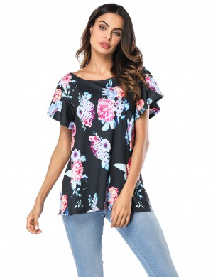 Black Flounce Printing Blouses Round Neck Ultimate Comfort